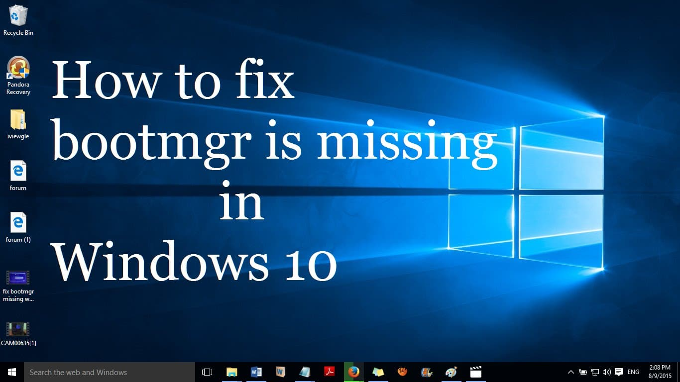how to fix BootMgr is missing in windows